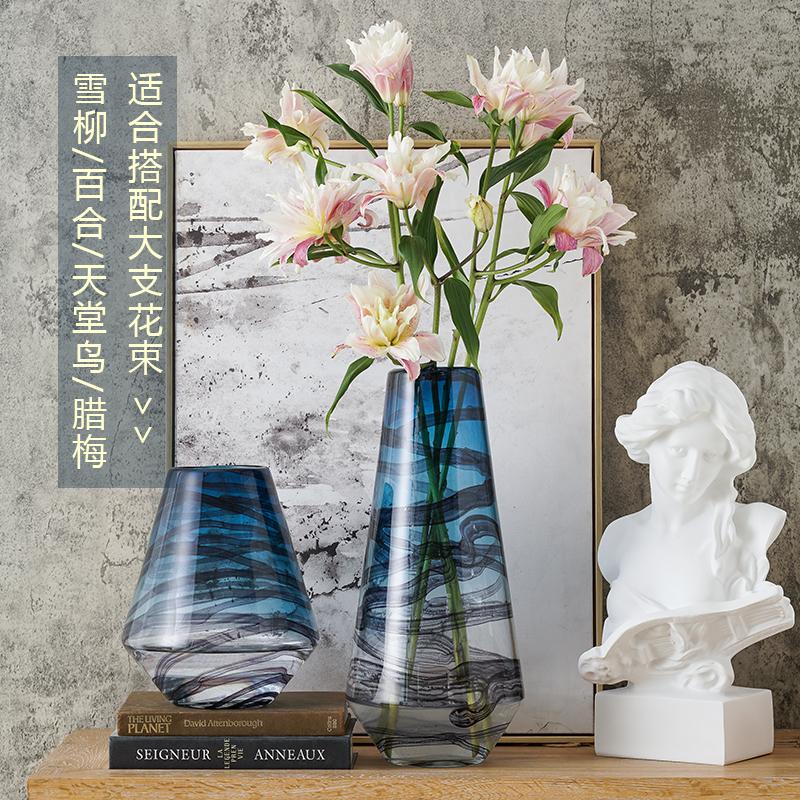 花瓶玻璃创意简约插花干花百合花器客厅大号家居装饰瓷器摆件梅瓶