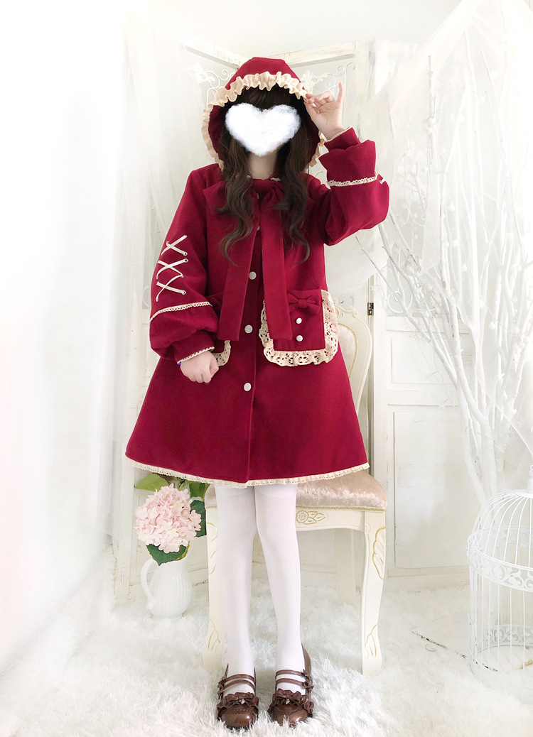 雪地小红帽帽 lolita加绒加厚连帽子外套新年红色洛丽塔冬季保暖