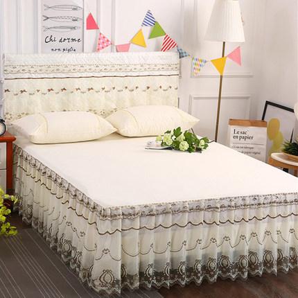 夏季床罩床裙式单件蕾丝花边1.5米1.8x2.0m床套公主风防滑三件套