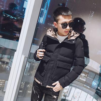 905-P140 冬装新款社会小伙迷彩连帽大口袋棉衣 男士短款加厚棉服