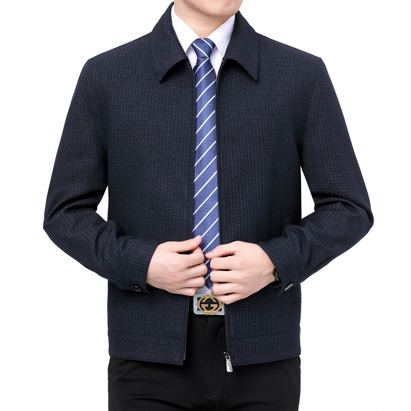 Official authentic jiumuwang mens spring coat middle aged and old peoples Woolen jacket lapel woolen sweater coat