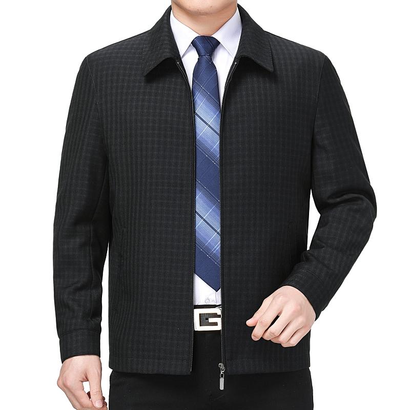 BUSEN mens official flagship store fathers spring coat woolen jacket mans middle age Lapel woolen jacket