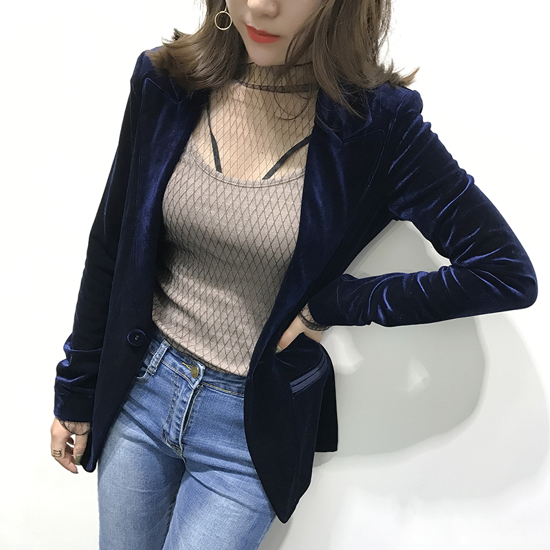 2021 spring and autumn star European and American retro suit, thin golden velvet small suit coat, fashionable womens slim top