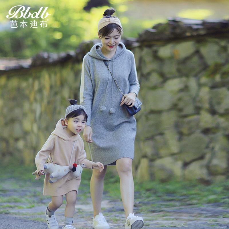 母女秋装2019新款潮韩版休闲时尚亲子装女童针织连衣裙原创设计
