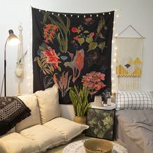 背景布ins挂布装饰卧室少女床头布北欧植物花卉民宿装饰宿舍墙布