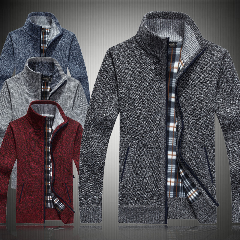 Large knitwear cardigan mens sweater thickened high collar sweater middle aged and elderly loose cardigan fathers clothes