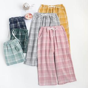 日系格子女士七分裤睡裤纯棉纱布薄款水洗绉布家居可外穿中裤大码