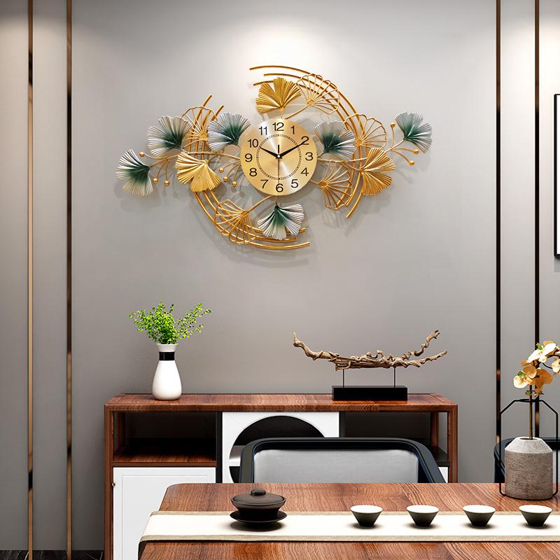 现代轻奢金属墙面装饰钟表客厅挂钟沙发背景墙壁挂件铁艺时钟壁饰
