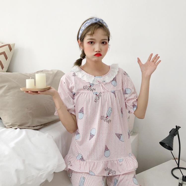 098#韩版女装睡衣女夏装薄款家居服短袖短裤休闲套装外穿宽松T恤