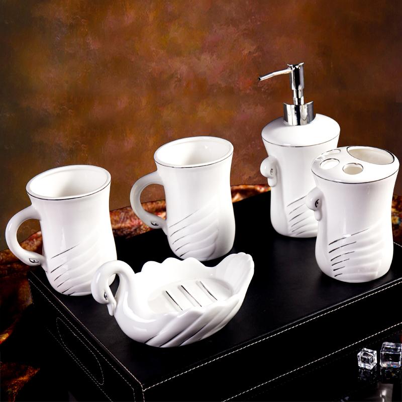 包邮陶瓷卫浴五件套欧式漱口杯新婚套装创意洗漱浴室用品5件托盘