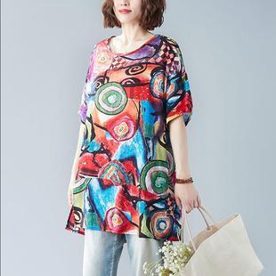 中长款 女装 棉麻短袖 韩版 T恤胖M宽松休闲遮肚显瘦上衣 大码 夏季 新款