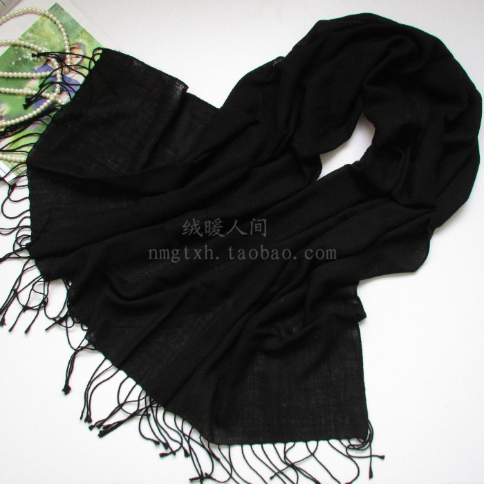Low price 2 pcs. package 60 PCs. worsted solid color long tassel pure wool scarf womens shawl thin black wine red