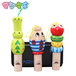 Child wooden whistle cartoon animals playing musical instruments Orff baby toys essential YB 8835