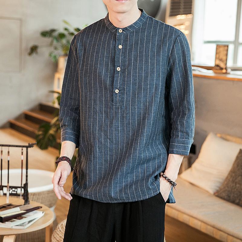 2020春季中国风新款条纹亚麻盘扣小立领衬衫男QT4029-CS88-P45