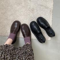 jk鞋黑色单鞋学院风INS小皮鞋女夏日系春秋加绒英伦乐福鞋chicli