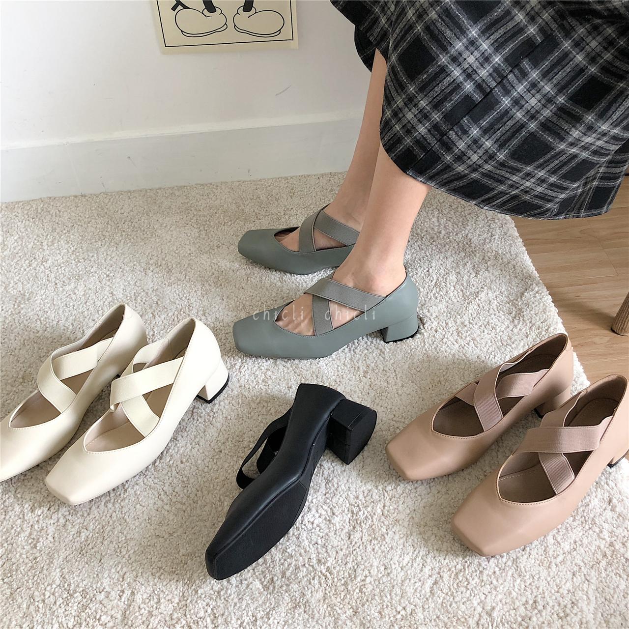 chicli 韩国森女系芭蕾舞鞋绑带单鞋女平底浅口方头复古玛丽珍鞋