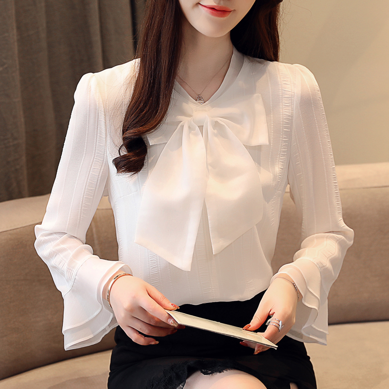 Spring chiffon shirt white shirt womens long sleeve 2020 new style bow foreign style small shirt