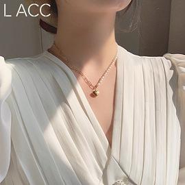 韩国纤细链条珍珠吊坠女气质显脖子长小L同学锁骨链短项链颈链