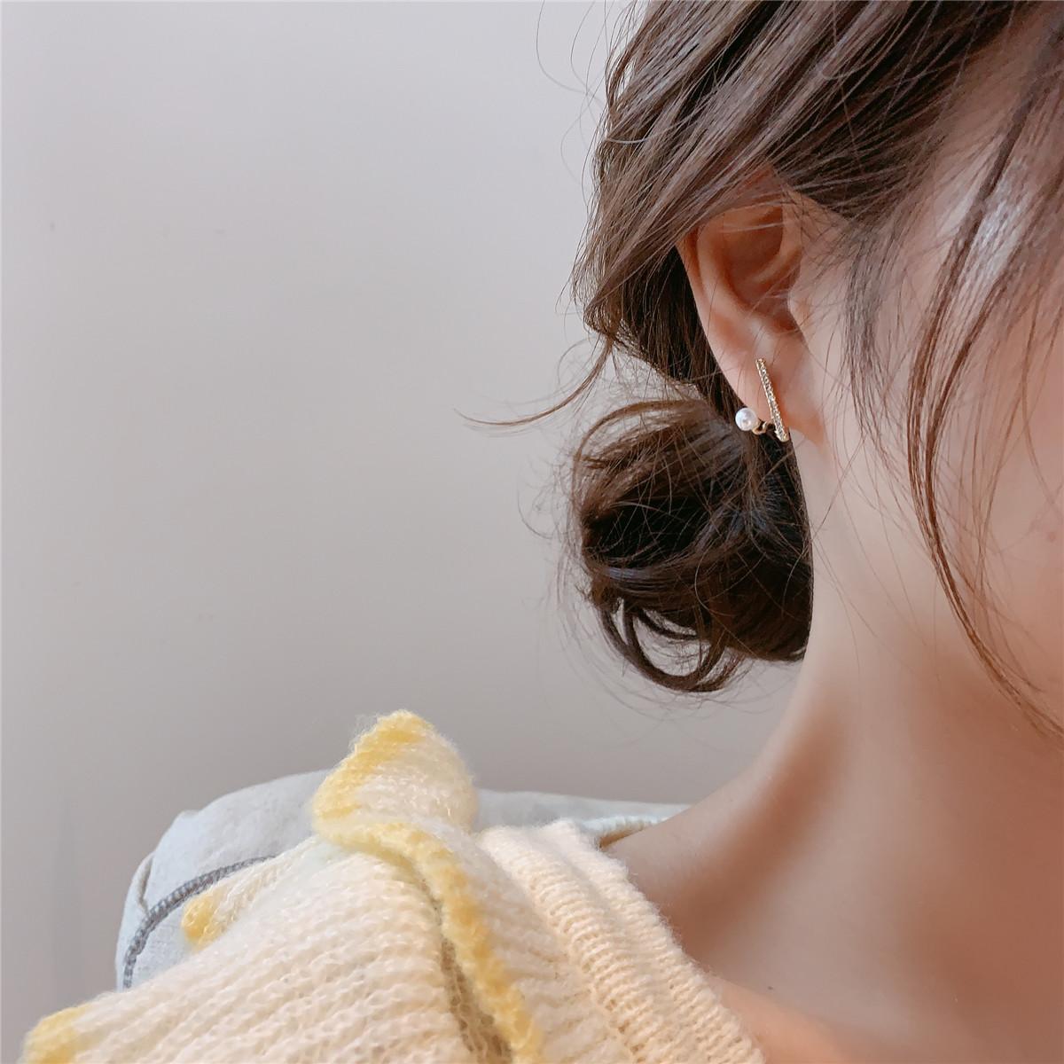 韩国东大门925银针简约水钻小一横珍珠耳钉百搭气质耳环少女耳坠29.00元包邮