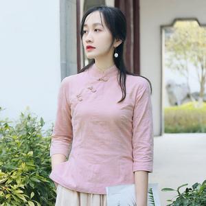 民国风女装旗袍上衣茶服女套装中国风秋装改良中式复古盘扣上衣