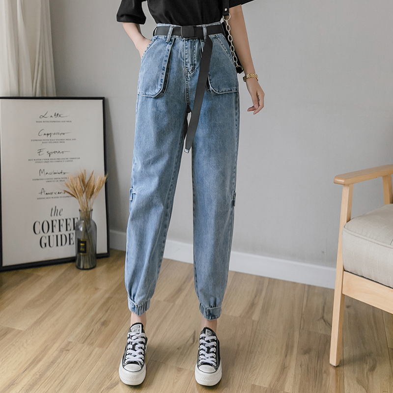 Brand discount clearance denim overalls womens waist up and hip lifting show thin daddy PANTS LEGGINGS casual radish pants