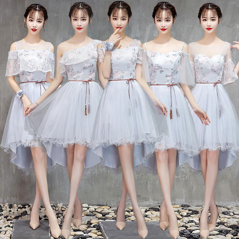 灰色伴娘服秋季2018新款韩式闺蜜伴娘团姐妹裙前短后长毕业礼服女