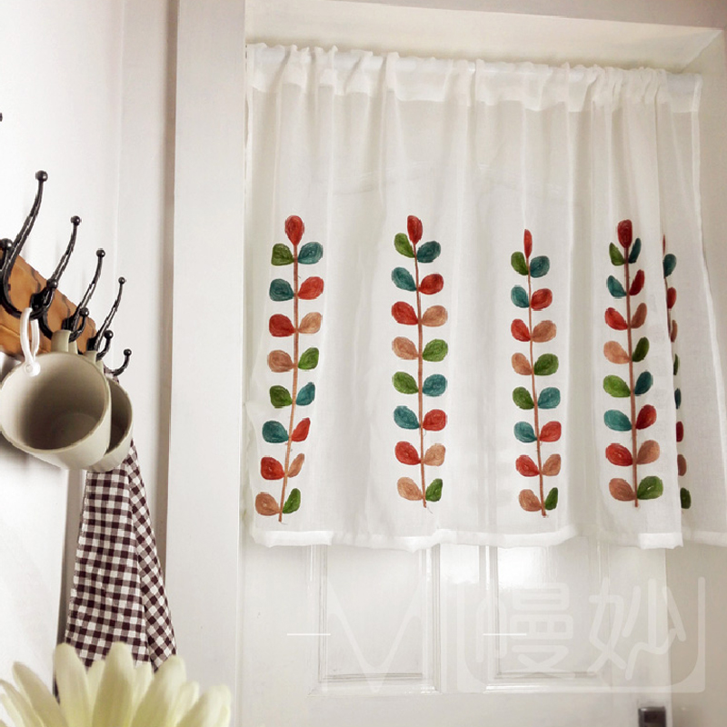 立体叶子刺绣窗纱高档咖啡日式门帘