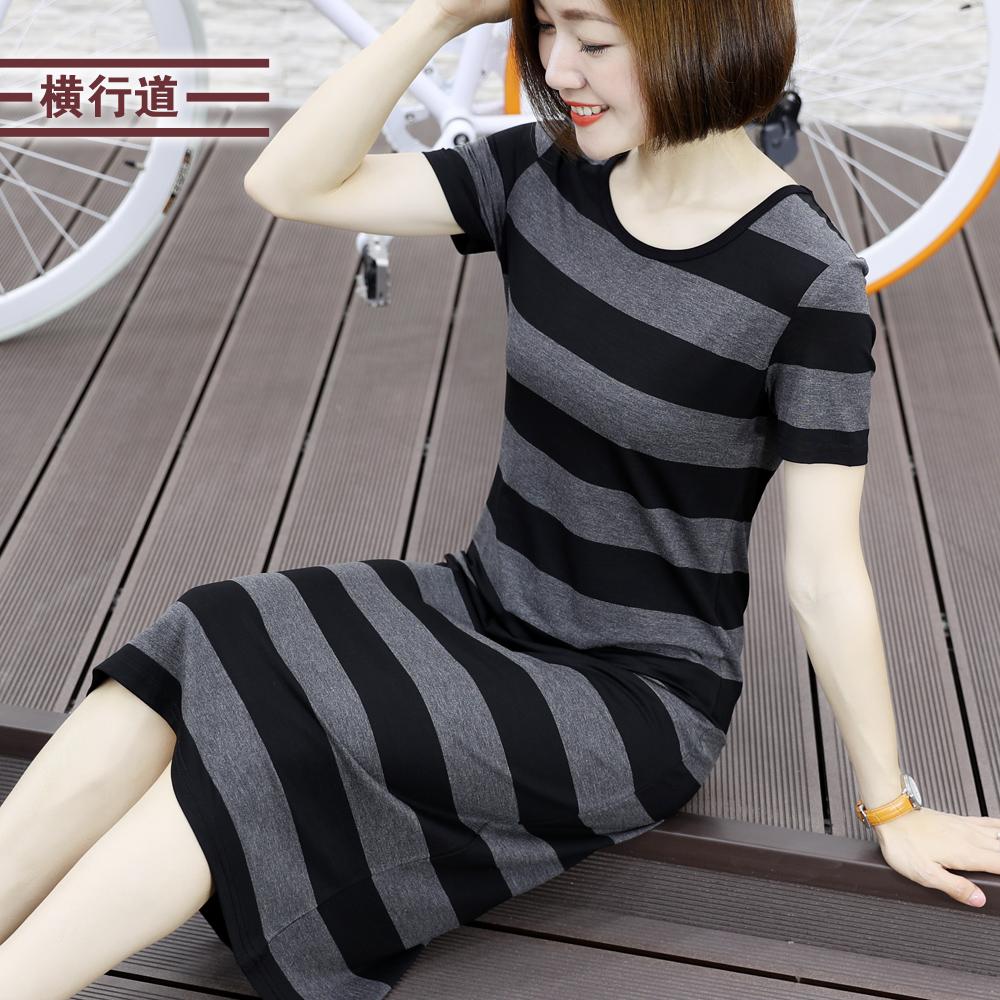 夏装2019新款女装韩版大码宽松包臀条纹短袖圆领长款打底连衣裙
