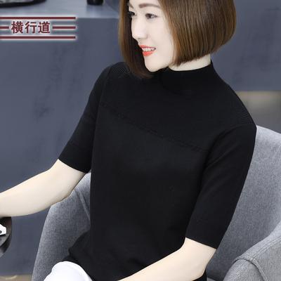 19春装新款五分袖半高领羊毛衣针织打底衫宽松女装外穿中袖上衣服