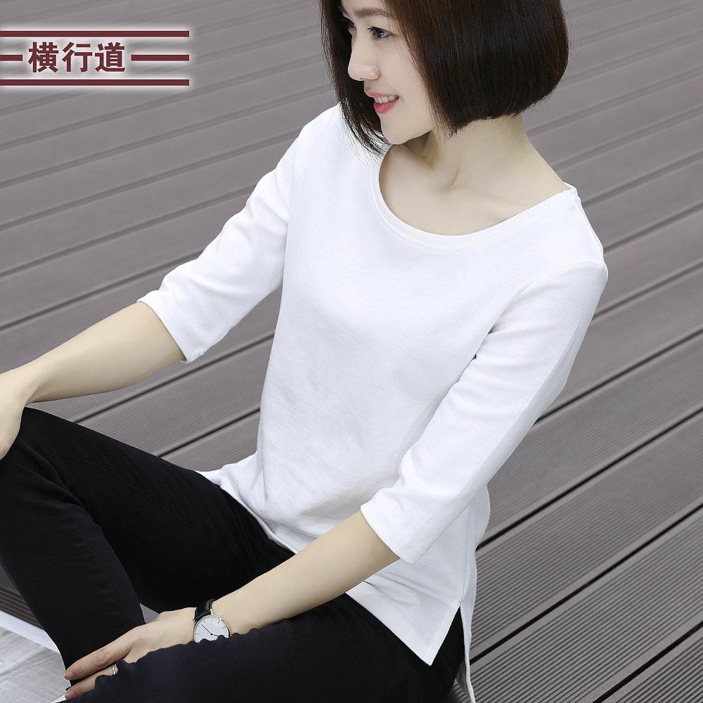 2020春装白色打底衫七分袖大码女装韩版外穿中年妈妈中袖上衣t恤图片