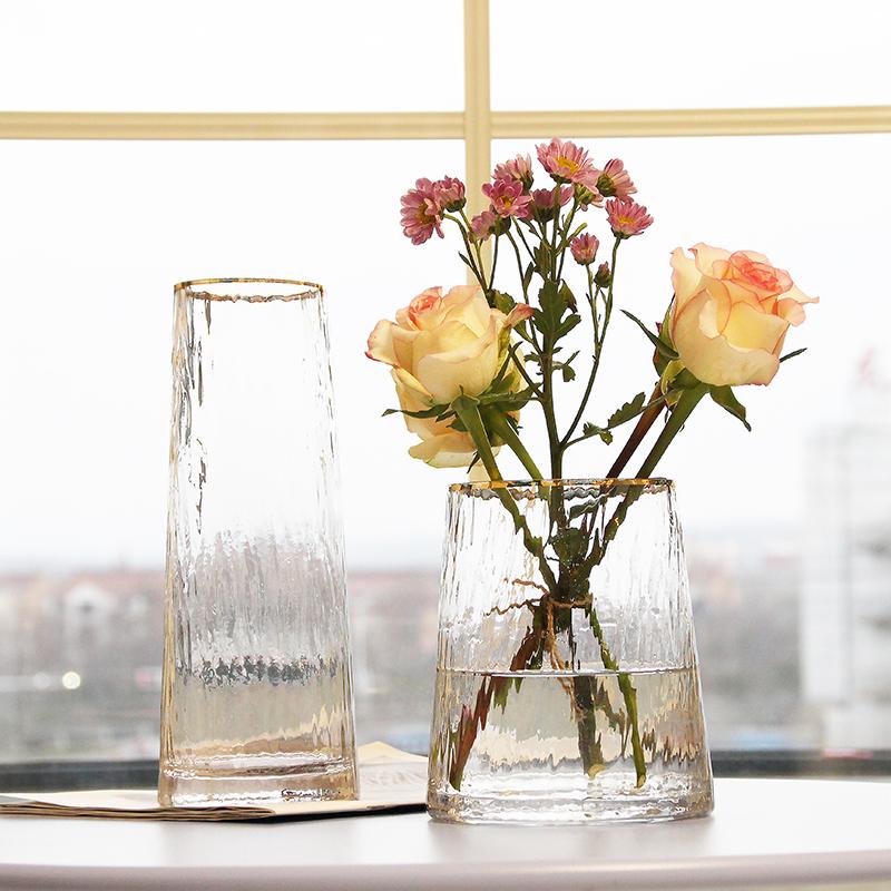 北欧轻奢玻璃花瓶透明 客厅 插花百合富贵竹玫瑰鲜花花瓶餐桌摆件