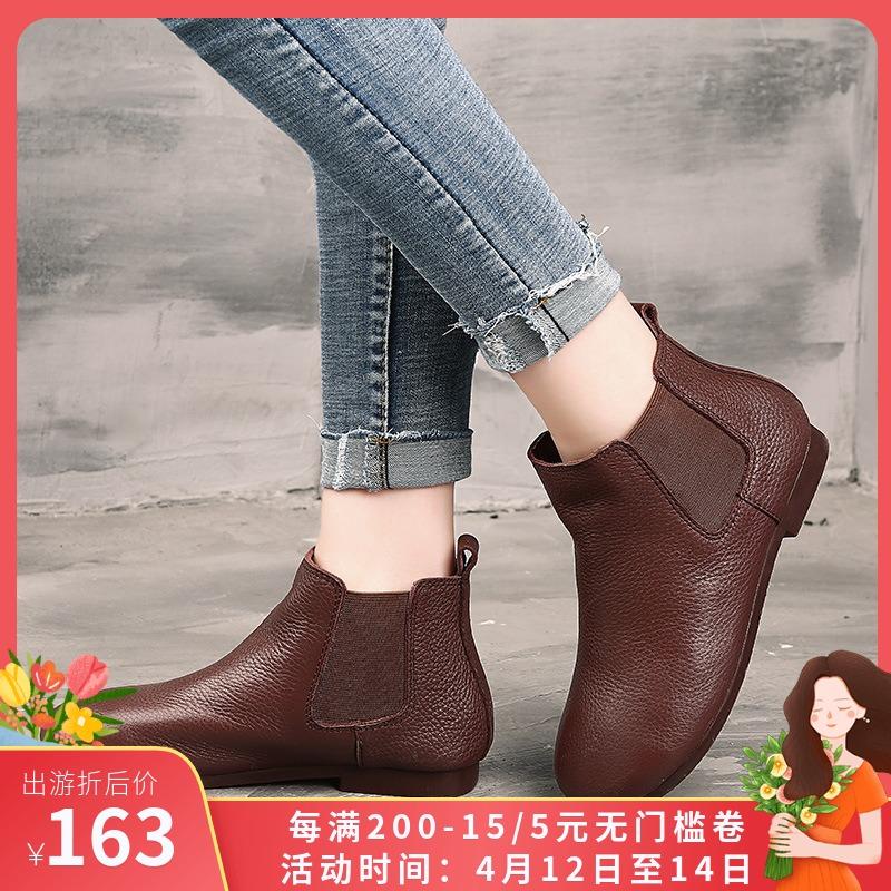 手工原创真皮套脚短筒女皮靴2020秋冬新粗跟圆头复古休闲切尔西靴