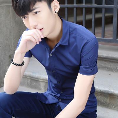 42%棉58%聚酯纤维新款男士短袖衬衫男半袖纯色衬衫潮男CS095-P35