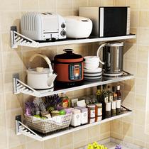 免打孔厨房置物架不锈钢壁挂式墙上挂架微波炉烤箱电饭煲收纳架子