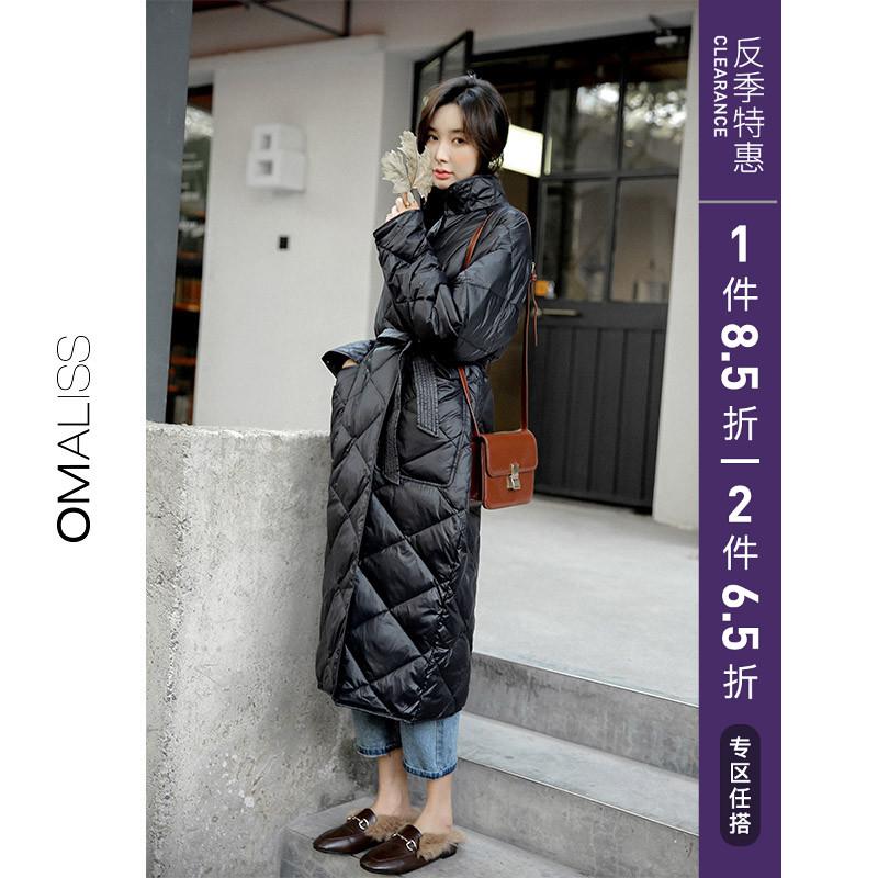冬季菱格轻薄反季节羽绒服女长款2019年新款过膝爆款韩版宽松外套