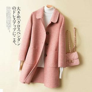 新款 修身 高端韩版 双面羊绒大衣女秋冬中长款 娃娃领羊毛呢外套加厚