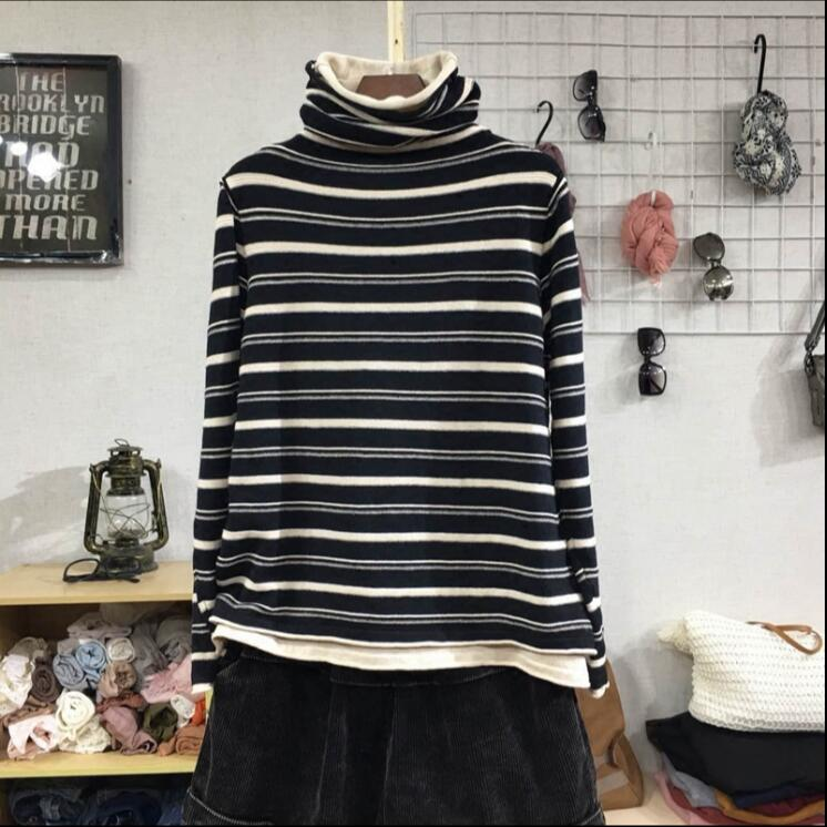 2018 winter new Korean womens loose literary stripe high neck fake two-piece Pullover Sweater