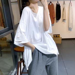 素尚夏季韓版潮ins寬鬆休閒個性破洞開衩百搭短袖純棉T恤衫上衣女