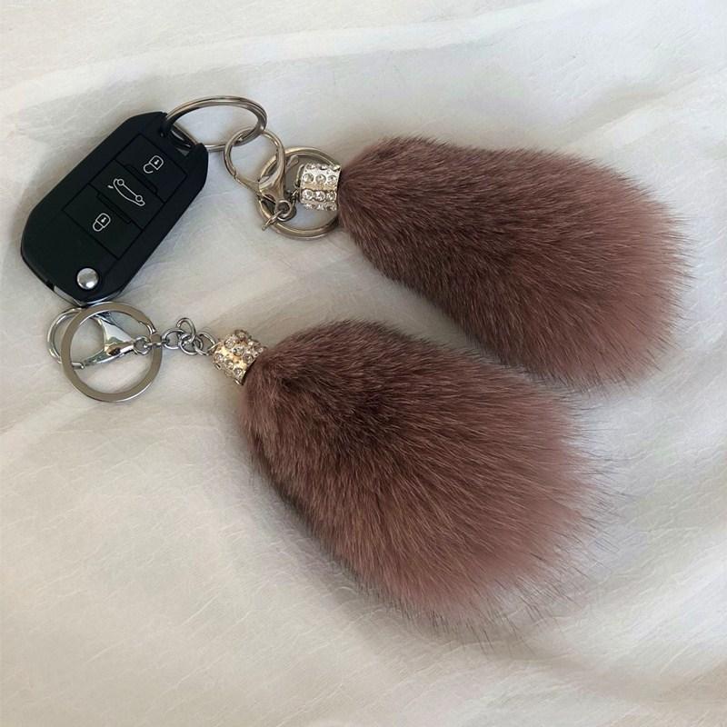 ins狐狸毛球挂件男女车钥匙扣挂件貂毛尾巴挂饰包包挂件毛绒饰品