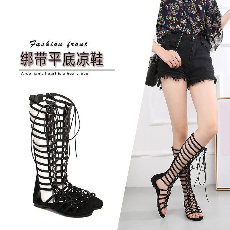 夏季新款便捷拉链舒适平底罗马风情绑带凉鞋镂空长筒靴性感时尚女