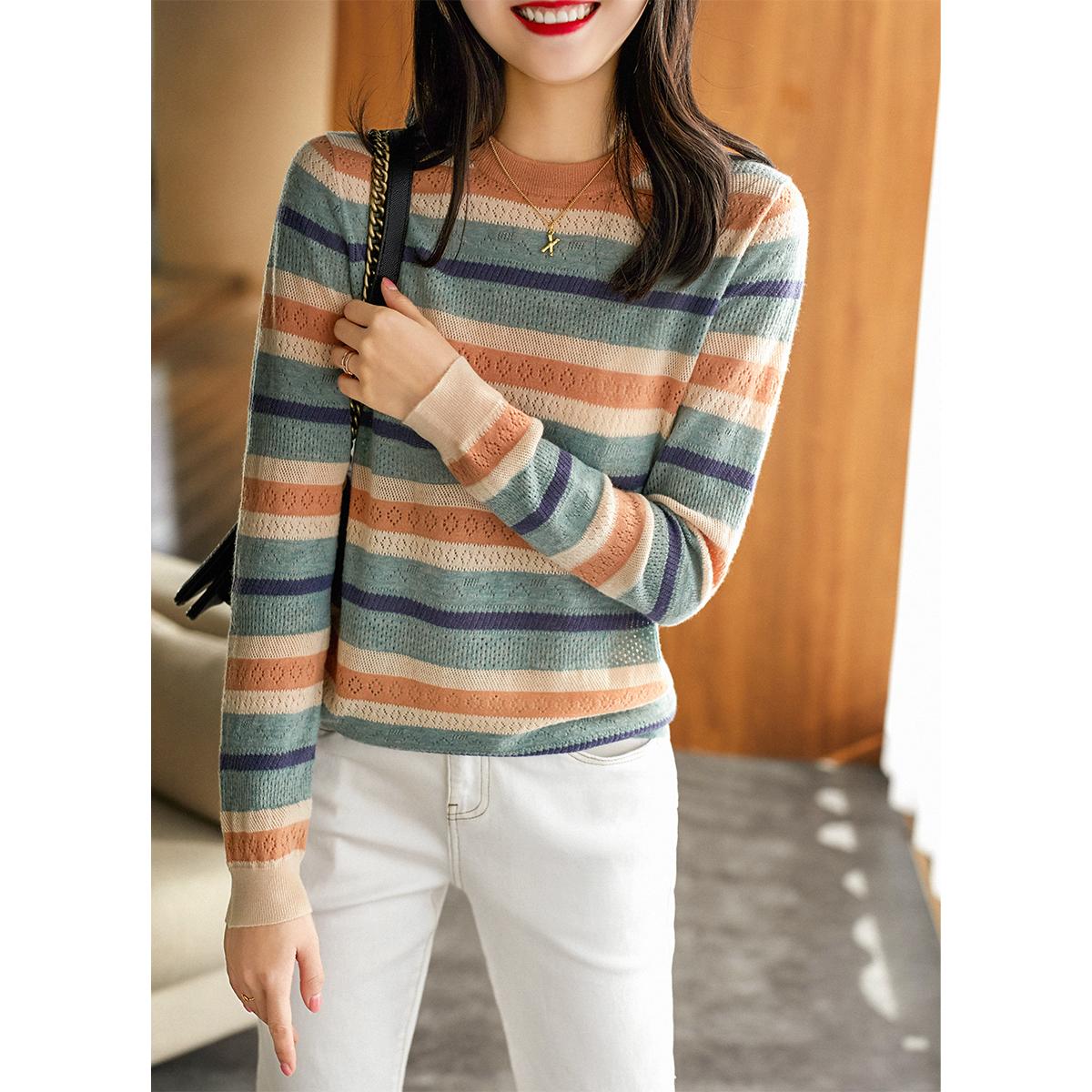 [ZY259141AG]笑涵阁 柜面精品系列 全羊毛彩色条纹针织衫