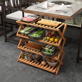 火锅店放菜架子置物架 厨房多层家用落地实木餐车推车酒店蔬菜架