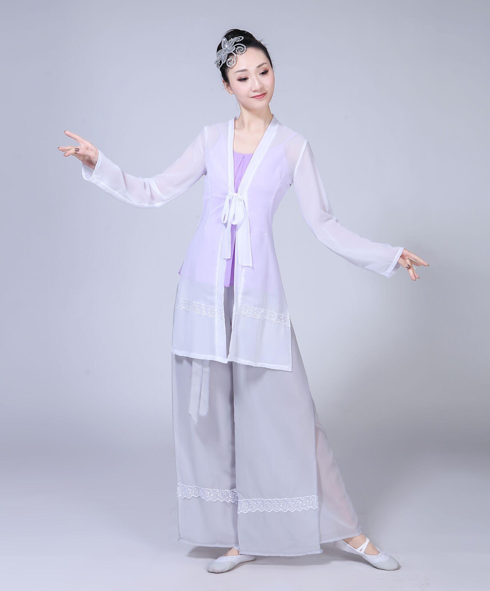 采薇古典舞演出服女新款�F代舞蹈服�b�功服半�丶��h逸裙