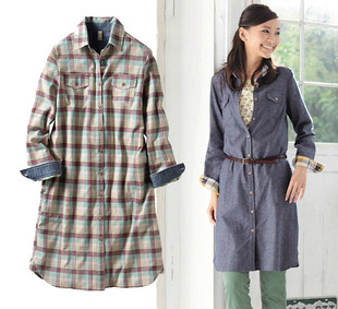 Sunshine cottages have large size women Japanese cotton plaid long sleeved shirt dress skirt autumn
