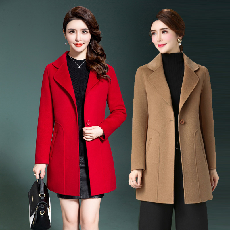2021 spring and autumn middle-aged womens double-sided cashmere coat short Korean large suit collar slim wool coat