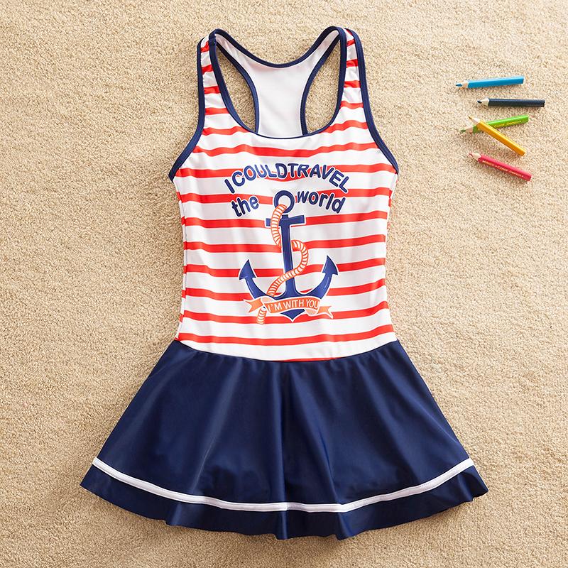 女童连体泳衣中大童裙式10儿童游泳衣平角13女孩沙滩泳装13-15岁9有赠品