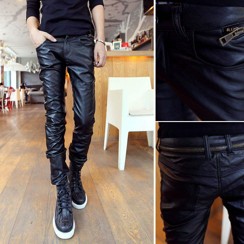 Boboy Men Korean Slim Leather Pants Male Wild Tide Washed Pu Leather