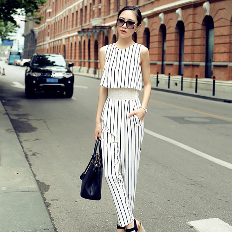 Fashion new Korean womens sleeveless Jumpsuit 2020 slim long striped spring pants 17238