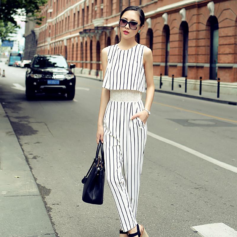 潮时尚新款韩版女装无袖连身裤 2020修身长款条纹春装裤子 17238