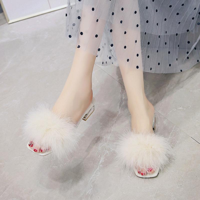 2020韩版夏季新款粗跟毛毛拖鞋女外穿时尚百搭网红中跟舒适凉拖女图片